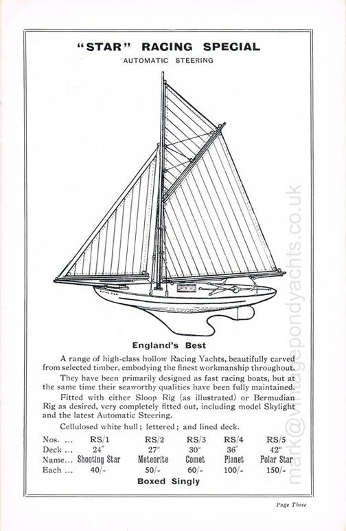 Star Yachts of Birkenhead 1935 Catalogue